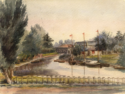 M. Conway, River Yare, Thrope St Andrew, Norwich - 1890 watercolour painting