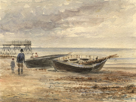 M. Conway, Cromer Beach with Figures & Pier - Original 1893 watercolour painting