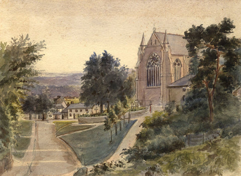 M. Conway, St Johns Church, Redhill, Surrey - Original 1892 watercolour painting
