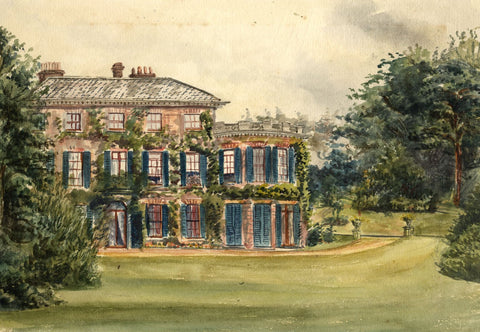 M. Conway, Thorpe Lodge, Thorpe St Andrew, Norwich - 1877 watercolour painting