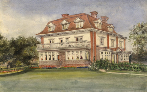 M. Conway, Kingsholm House, Redhill, Surrey - Original 1890 watercolour painting