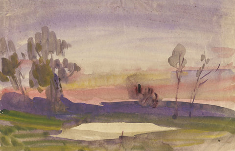 Elsie March RBA, Symbolist Sunset Skies - 1920s Art Nouveau watercolour painting