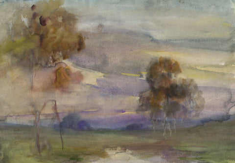 Elsie March RBA, Symbolist Autumn Landscape - 1920s Art Nouveau watercolour