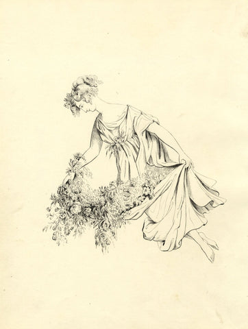 Brada Hulton, Classical Lady with Flower Bounty - Late 19th-century ink drawing