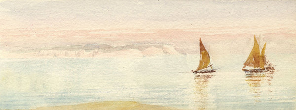 Emily Bruce, Sailing Boats, Bournemouth Coast - 1886 watercolour painting