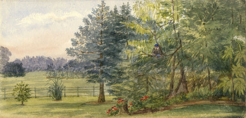 Mary C. Durst, Beaulieu Abbey Grounds, New Forest - 1887 watercolour painting