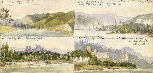 Mary C. Durst, Four Views on the Seine - Original 1887 watercolour painting