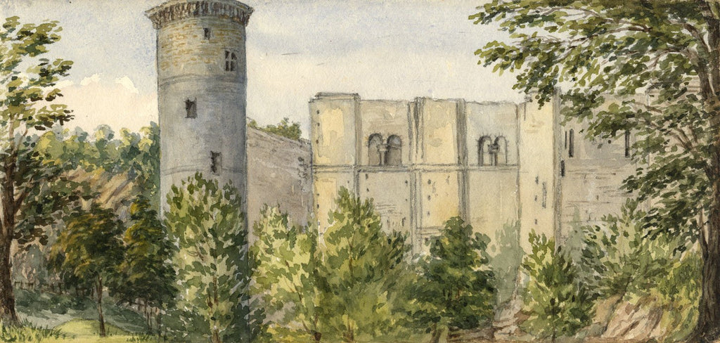 Mary C  Durst, Falaise Castle, Normandy - Original 1887 watercolour painting