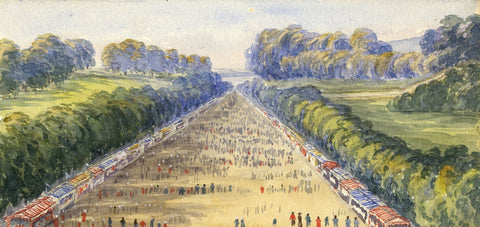 Mary C. Durst, Fête de Saint-Cloud, Paris - Original 1887 watercolour painting