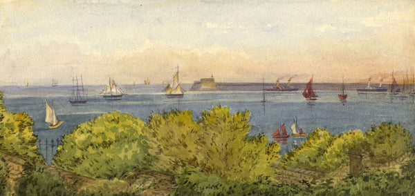 Mary C. Durst, View to Admiralty Pier, Dover -Original 1888 watercolour painting