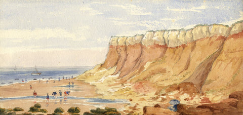Mary C. Durst, Bathing at Hunstanton Cliffs, Norfolk - 1888 watercolour painting