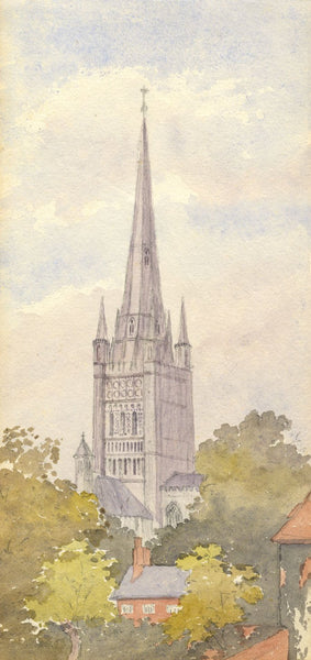 Mary C. Durst, Norwich Cathedral Spire - Original 1888 watercolour painting