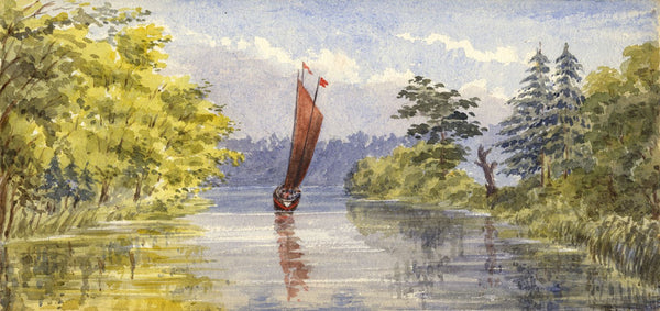 Mary C. Durst, River Bure with Wherry, Norwich - 1888 watercolour painting