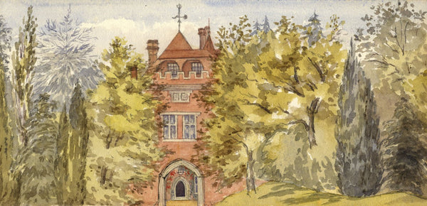 Mary C. Durst, Entrance, Leyswood House, Groombridge, Kent - 1888 watercolour