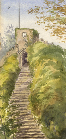 Mary C. Durst, Carisbrooke Castle Steps, Isle of Wight - 1888 watercolour