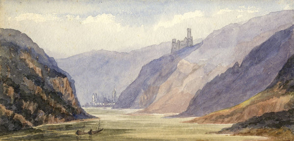 Mary C. Durst, Rhine at St Goarshausen, Germany - 1888 watercolour painting