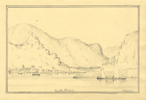 Lady Susan Harriet Holroyd, St Goarhausen on Rhine - c.1845 graphite drawing