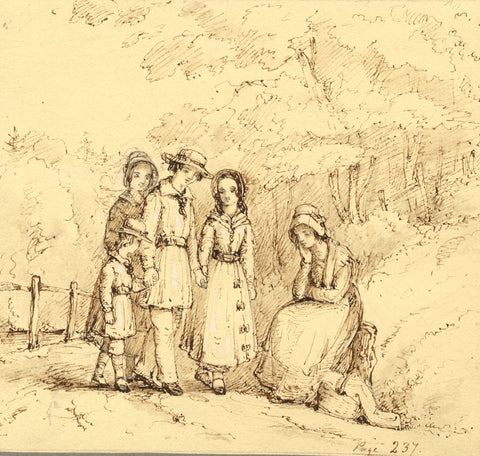 Lady Susan Harriet Holroyd, Children on a Lane - c.1845 pen & ink drawing