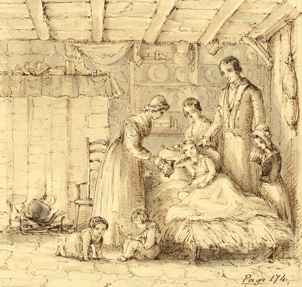 Lady Susan Harriet Holroyd, At the Sick Boy's Bedside - c.1845 pen & ink drawing
