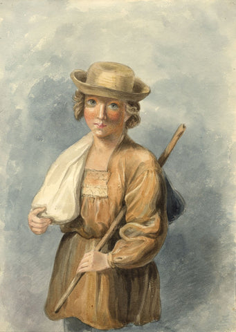 Lady Susan Harriet Holroyd, Shepherd Boy after Reynolds - c.1845 watercolour