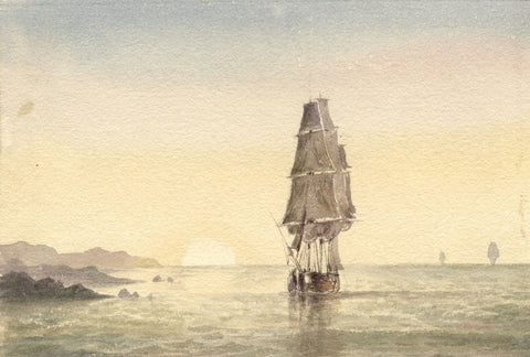 Lady Susan Harriet Holroyd, Clipper Ship at Sunset - c.1845 watercolour painting