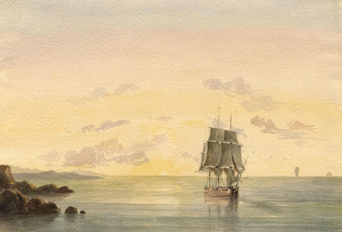 Lady Susan Harriet Holroyd, Clipper Sailing Ship at Sunset - c.1845 watercolour