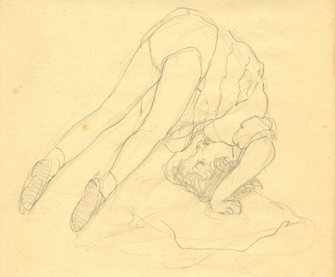 Vera Furneaux-Harris RMS, Young Girl Doing a Somersault -1930s graphite drawing