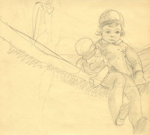Vera Furneaux-Harris RMS, Young Girl in Hammock - 1930s graphite drawing