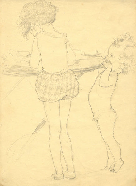 Vera Furneaux-Harris RMS, Young Siblings Playing - 1930s graphite drawing
