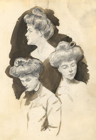 Dorothy B.M. Kerr, Edwardian Woman Portrait Studies - c.1905 graphite drawing