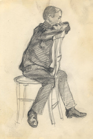 Dorothy B.M. Kerr, Telegram Messenger Boy Sitting - c.1905 graphite drawing