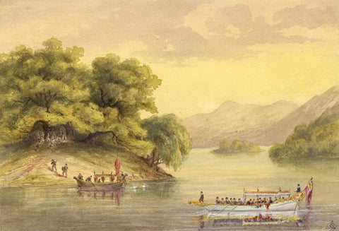 G.P., Queen Victoria's Royal Barge on Lake - c.1880s watercolour painting