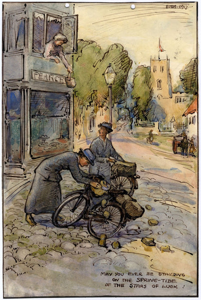 Ethel M. Mallinson, Women Cyclists on the Street - 1917 watercolour painting