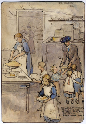 Ethel M. Mallinson, The Tavern, Feeding the Children - 1916 watercolour painting