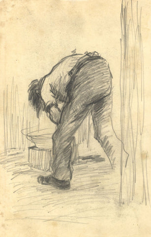 R.C. Matsuyama, Oto Washing - Original 1920s graphite drawing