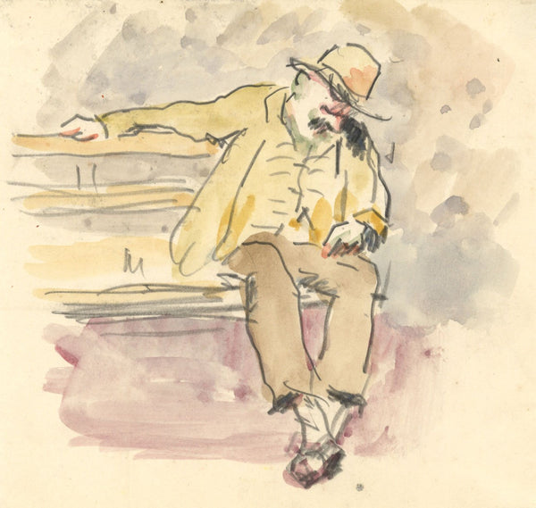 R.C. Matsuyama, Resting Man on Park Bench - Original 1920s watercolour painting