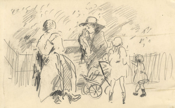R.C. Matsuyama, Women & Children at Park Bench - Original 1920s graphite drawing