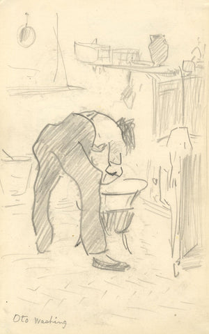 R.C. Matsuyama, Oto Washing II - Original 1920s graphite drawing