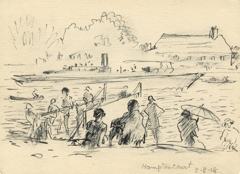 R.C. Matsuyama, Relaxing on the Thames, Hampton Court - 1928 pen & ink drawing