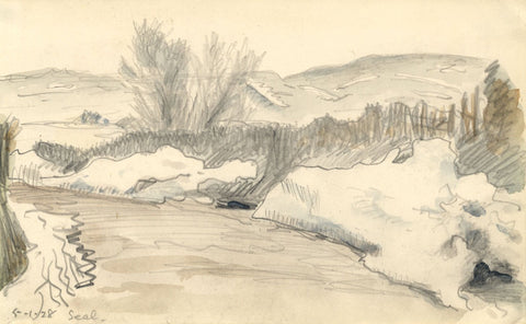 R.C. Matsuyama, North Downs at Seal, Kent - Original 1928 graphite drawing