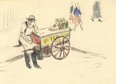 R.C. Matsuyama, Resting Street Stall Seller with Cart - 1920s pen & ink drawing