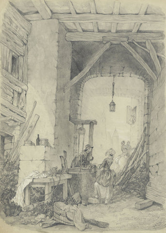 S.L. Collis, Figures by Well after James Duffield Harding -1852 graphite drawing
