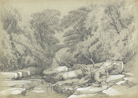 S.L. Collis, Ash & Alder on Greta after James Duffield Harding - c.1852 drawing