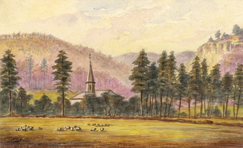 M.F.S., Sheep & Church in Forested Landscape, Scotland - 1886 watercolour