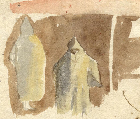Nora H. Silver, Figures in Sulam Cloaks, Tangier, Morocco - 1892/3 watercolour