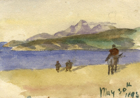Nora H. Silver, Towards Apes Hill, Strait of Gibraltar Morocco -1893 watercolour