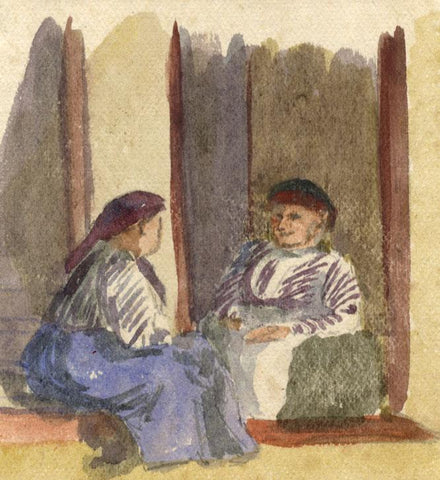 Nora H. Silver, Seated Women, Tangier, Morocco - 1892/3 watercolour painting