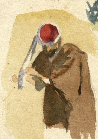 Nora H. Silver, Man Tying his Turban, Tangier, Morocco - 1892/3 watercolour