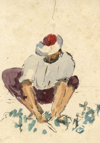 Nora H. Silver, Man Tending Plants, Tangier Morocco -1892/3 watercolour painting