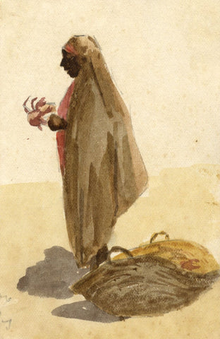 Nora H. Silver, Street Seller, Tangier, Morocco - 1892/3 watercolour painting